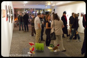 Chit-chat during the opening reception of the Scary Art Project.
