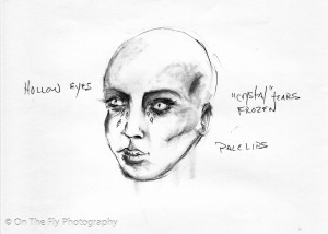 Angels of Eternal Stasis - special effects make-up concept sketch by Suzann Ridolfi
